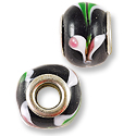 Large Hole Lampwork Glass Bead with Grommet 13x8mm Black with Pink and Green Hearts (1-Pc)