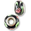 Large Hole Lampwork Glass Bead with Grommet 13x8mm Black with Pink Flowers (1-Pc)