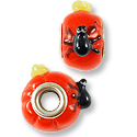 15x12mm Pumpkin and Spider Large Hole Lampwork Glass Bead with Grommet (1-Pc)