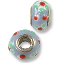 Large Hole Lampwork Glass Bead with Grommet 10x14mm Lavender/Green/White Flower (1-Pc)
