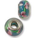 Large Hole Lampwork Glass Bead with Grommet 9x14mm Aquamarine/Pink Flower (1-Pc)