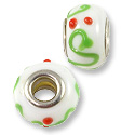 Large Hole Lampwork Glass Bead with Grommet 9x14mm White/Green/Red (1-Pc)