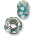 Large Hole Lampwork Glass Bead with Grommet 10x14mm Aquamarine/White (1-Pc)
