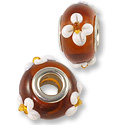 Large Hole Lampwork Glass Bead with Grommet 9x14mm Amber/White Flower (1-Pc)