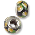 Large Hole Lampwork Glass Bead with Grommet 10x14mm Green/Tan/White  (1-Pc)