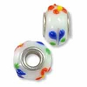Large Hole Glass Bead with Grommet 9x15mm White with Red Flowers & Blue Swirls (1-Pc)