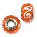 Large Hole Glass Bead with Grommet 9x13mm Burnt Orange with White Swirls & Dots (1-Pc)