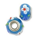 Large Hole Glass Bead with Grommet 9x14mm Aqua with White Flowers (1-Pc)