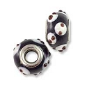 Large Hole Glass Bead with Grommet 10x15mm Black with White Dots (1-Pc)