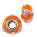 Large Hole Glass Bead with Grommet 9x14mm Orange with Pink Flowers & White Dots (1-Pc)