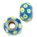 Large Hole Glass Bead with Grommet 9x15mm Blue with Lime Green Bumpy Dots (1-Pc)