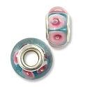 Large Hole Lampwork Glass Bead with Grommet 8x14mm Aqua with Pink Dots (1-Pc)