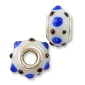 Large Hole Lampwork Glass Bead with Grommet 9x14mm White with Cobalt Blue and Brown Dots (1-Pc)