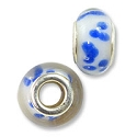 Large Hole Lampwork Glass Bead with Grommet 9x14mm White with Cobalt Blue Dots (1-Pc)