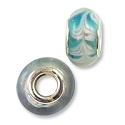Large Hole Lampwork Glass Bead with Grommet 8x14mm Aqua with White Feathers (1-Pc)