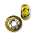Large Hole Lampwork Glass Bead with Grommet 8x14mm Black with Yellow Swirls (1-Pc)