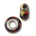 Large Hole Lampwork Glass Bead with Grommet 8x14mm Black with Red and Yellow Swirls (1-Pc)
