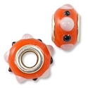 Large Hole Lampwork Glass Bead with Grommet 9x14mm Orange with Pink and Black Dots (1-Pc)
