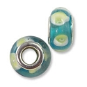 Large Hole Lampwork Glass Bead with Grommet 8x14mm Aqua with Lime Green Dots (1-Pc)