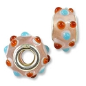 Large Hole Lampwork Glass Bead with Grommet 8x15mm Peach with Amber and Light Blue Dots (1-Pc)