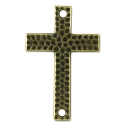 TierraCast Hammered Cross Connector Pewter Antique Brass Plated 1