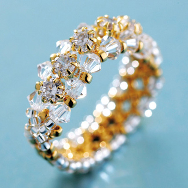 Cubic Zirconia Gold Line Ring Seed Bead Kit