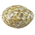Organic Puffed Oval Bead Rice Grain and Resin 38x24mm