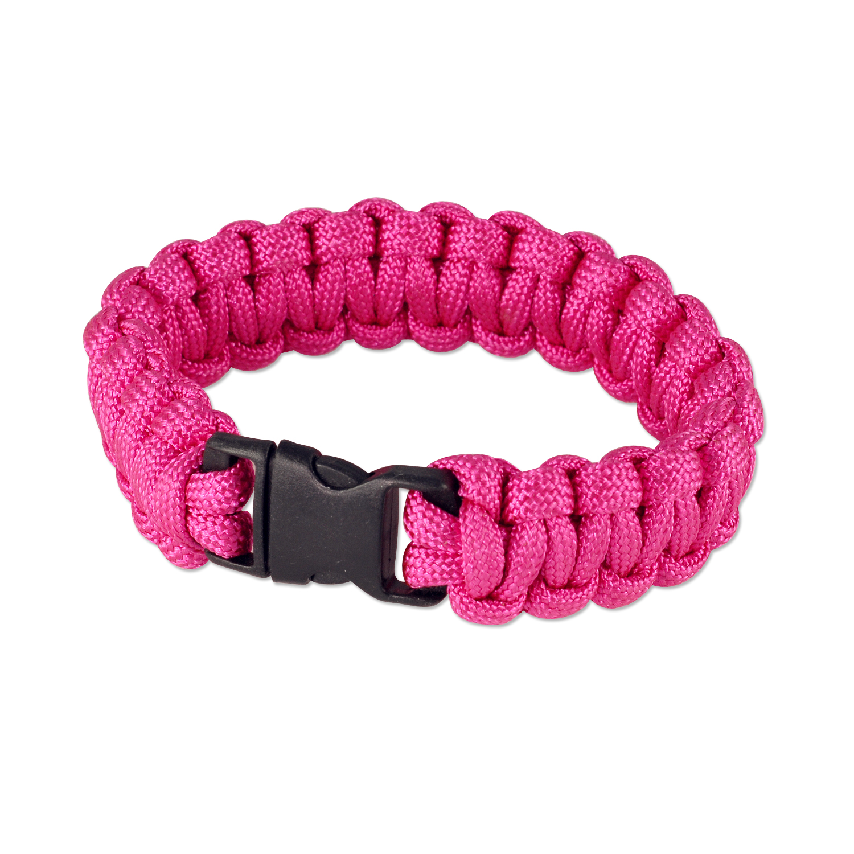 """7"""" Solid Color Paracord Bracelet 7""""x3/4"""" Neon Pink (1-Pc)"""