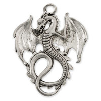 36x28mm Antique Silver Plated Dragon Pewter Pendant