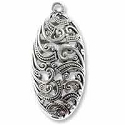 44mm Antique Silver Plated Puffy Oval Filigree Pewter Pendant (1-Pc)