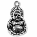 Buddha Pendant 27x15mm Pewter Antique Silver Plated (1-Pc)