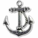Anchor Pendant 23x21mm Pewter Antique Silver Plated (1-Pc)
