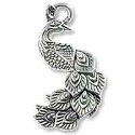 Peacock Pendant 34x19mm Pewter Antique Silver Plated (1-Pc)