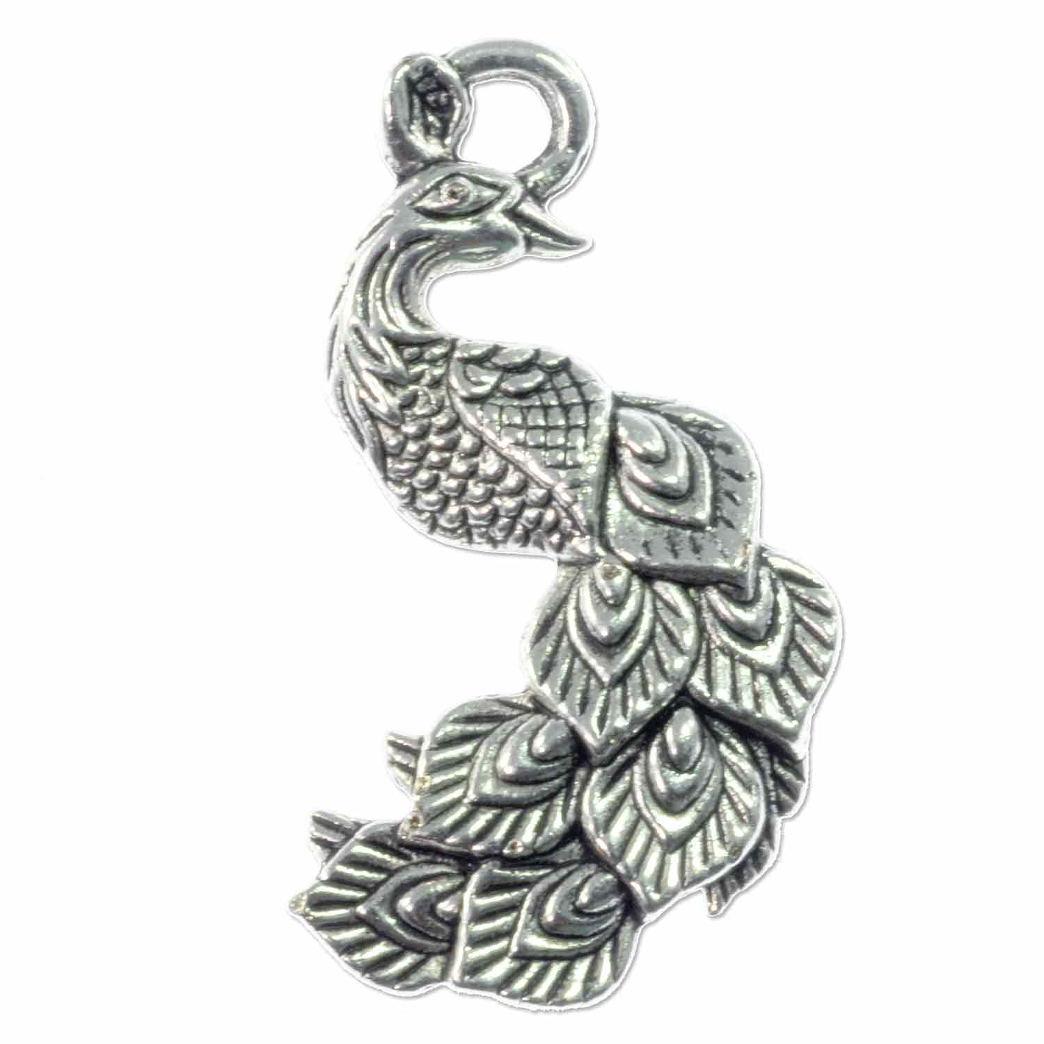 Peacock pendant 34x19mm pewter antique silver plated 1 pc aloadofball Choice Image