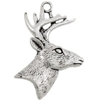 Deer Pendant 58x44mm Pewter Antique Silver Plated (1-Pc)
