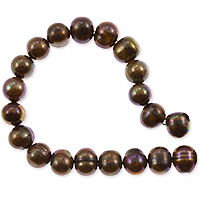 Freshwater Potato Pearl Peacock Dark Brown 8-9mm (16