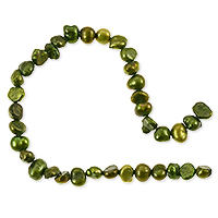 Freshwater Potato Pearl Nugget Olive Green 5-6mm (16