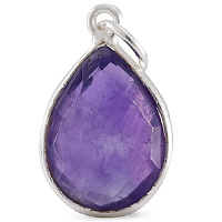 Faceted Amethyst Pendant 16x12mm Sterling Silver (1-Pc)