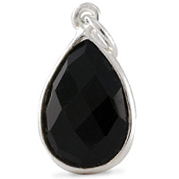 Faceted Black Onyx Pendant 16x12mm Sterling Silver (1-Pc)