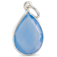 Faceted Blue Chalcedony Pendant 16x12mm Sterling Silver (1-Pc)