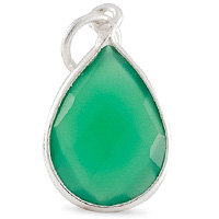 Faceted Green Onyx Pendant 16x12mm Sterling Silver (1-Pc)