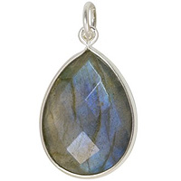 Faceted Labradorite Pendant 16x12mm Sterling Silver (1-Pc)