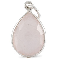 Faceted Rose Quartz Pendant 16x12mm Sterling Silver (1-Pc)