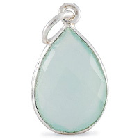 Faceted Sea Green Chalcedony Pendant 16x12mm Sterling Silver (1-Pc)