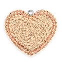 Swarovski Crystal Pave Heart Pendant 67412 26mm Silk/Light Peach (1-Pc)