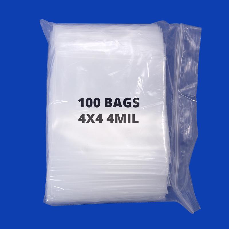 100-Pcs Plastic Zip Top Bag 4x4
