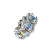 Swarovski Rondelle Square Bead 4.5mm Crystal AB Sterling Plated (1-Pc)