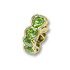 Swarovski Rondelle Square Bead 6mm Peridot Gold Plated (1-Pc)