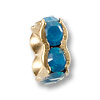Swarovski Rondelle Square Bead 4.5mm Caribbean Blue Opal Gold Plated (1-Pc)