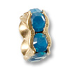 Swarovski Rondelle Square Bead 6mm Caribbean Blue Opal Gold Plated (1-Pc)